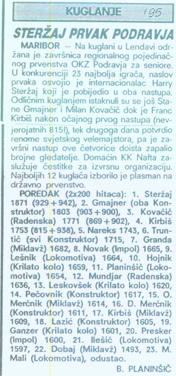 OTS, Sportske Novosti, 1995
