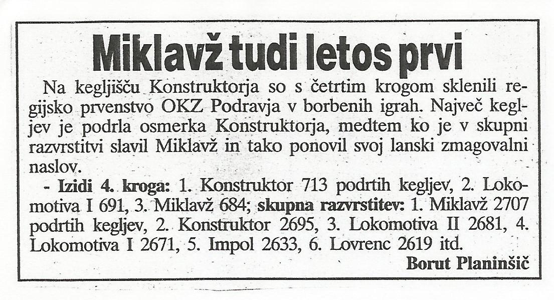 Miklavž prvi, Ekipa, 1996