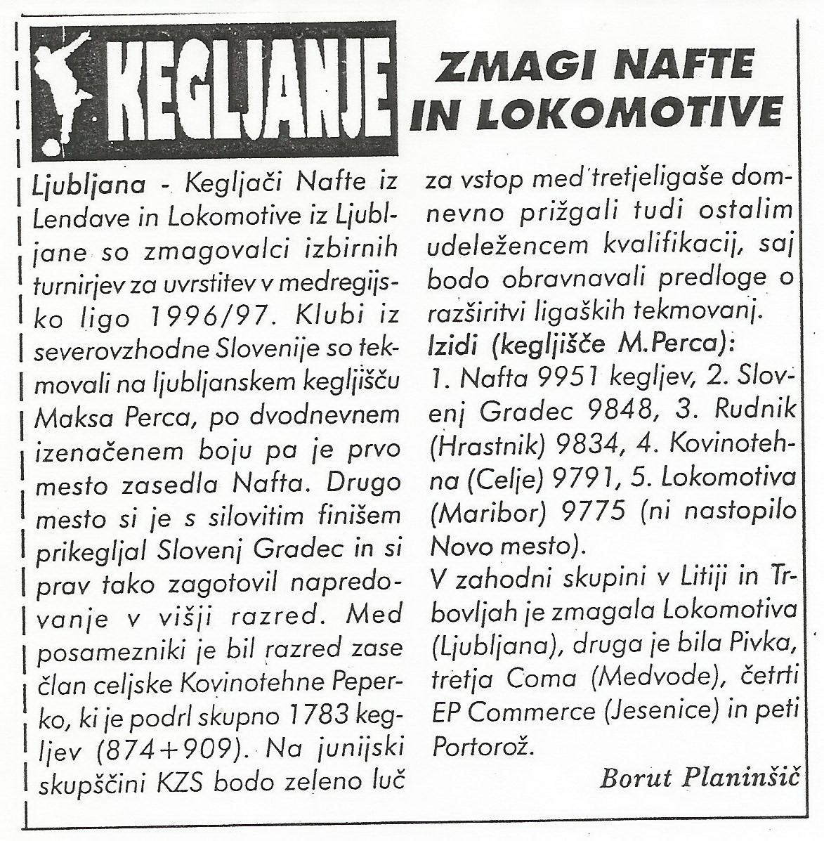 Kvalifikacije, Ekipa, 1996