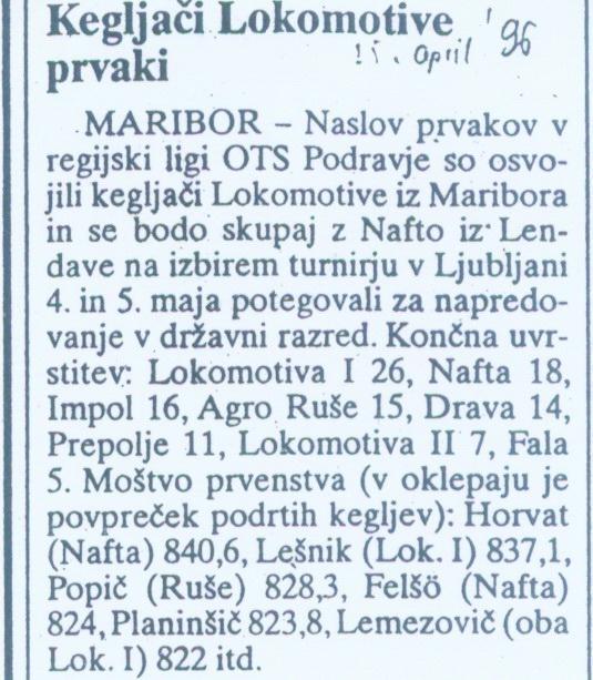 Večer, 1996