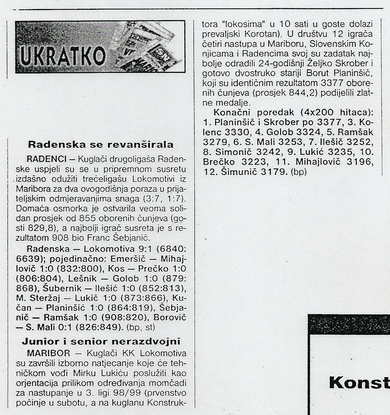 Sportske Novosti, 1998