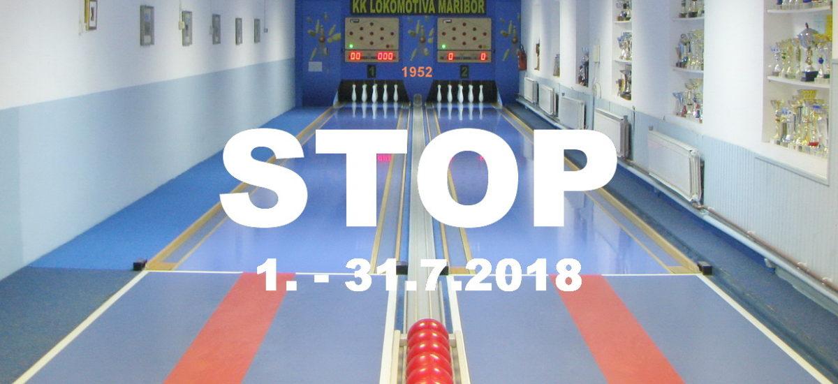 Kegljišče zaprto od 1. do 31.7.2018