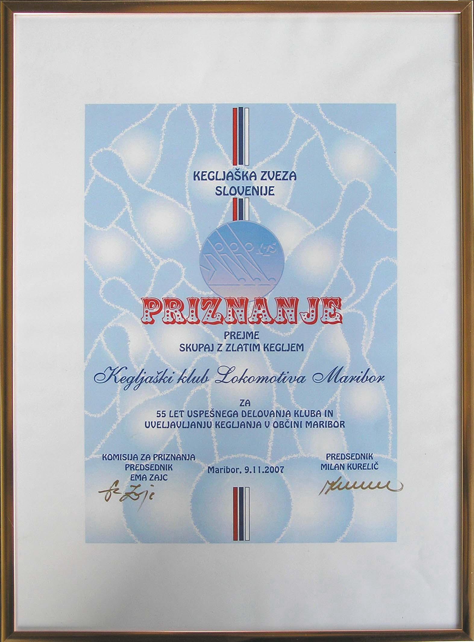 Priznanje KZS ob 55. obletnici KKL