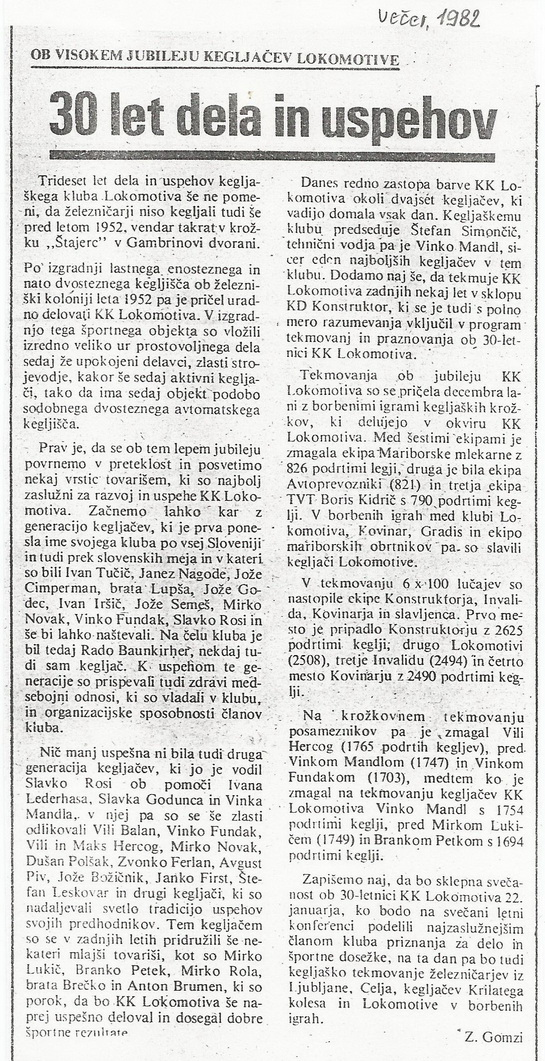 30 let KKL, Večer ,1982