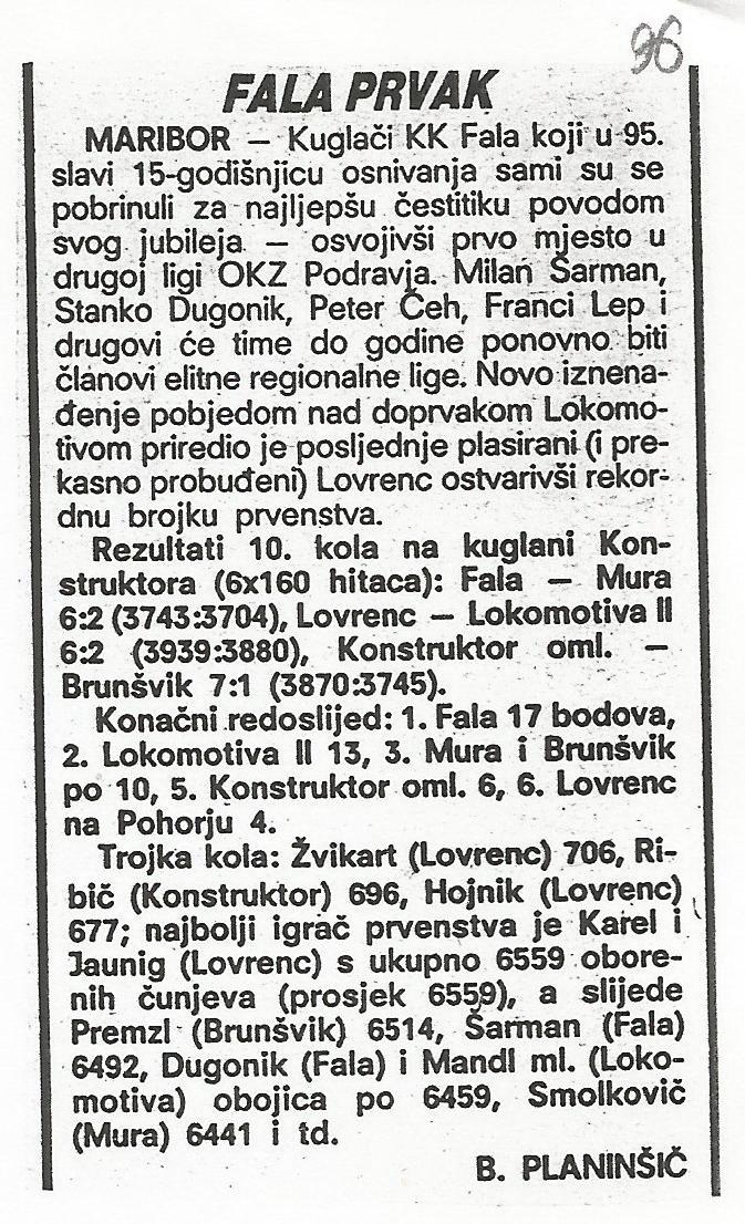 Fala prvak, Sportske Novosti, 1995