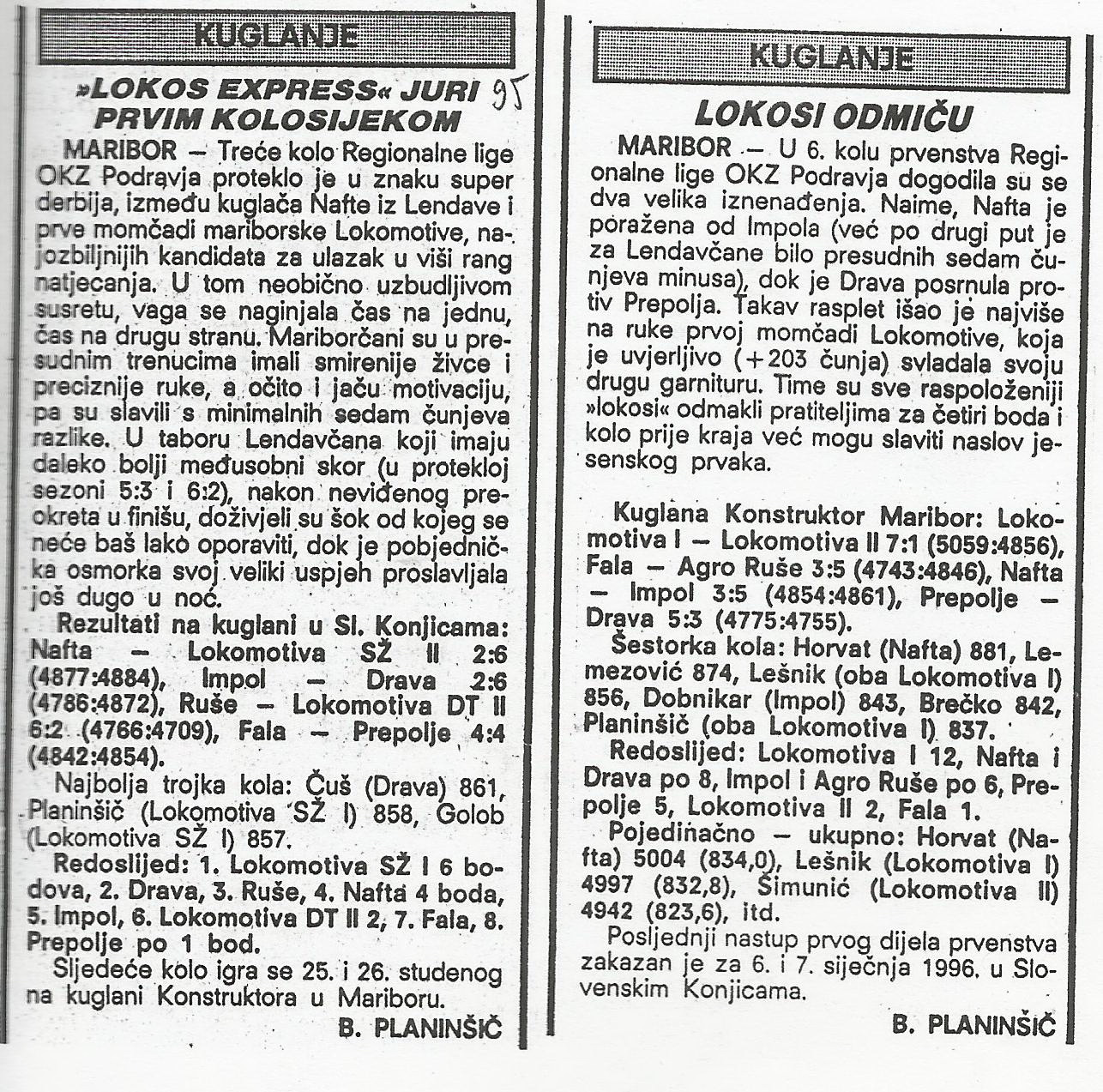 OKZ liga, Sportske Novosti, 1995