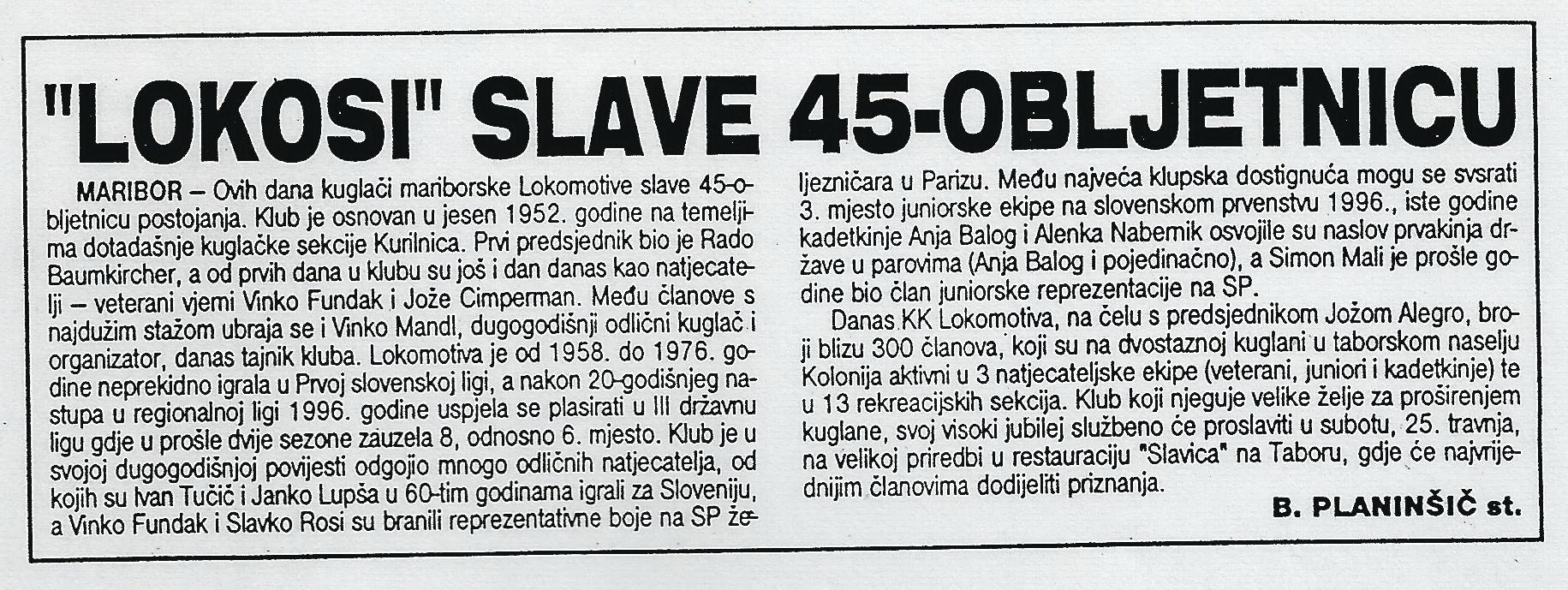45 obletnica, Sportske Novosti, 1997
