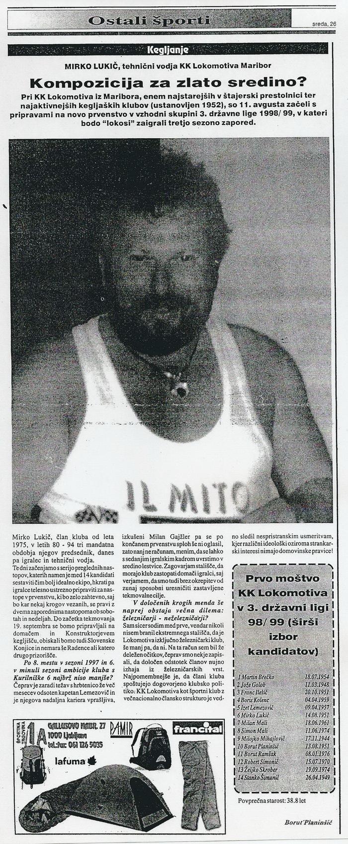 Lukič intervju, Ekipa, 1998