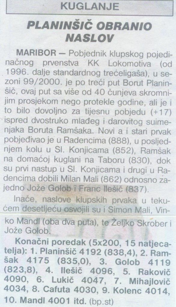 Sportske Novosti, 2000