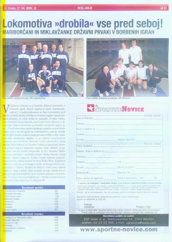 Slovenske Novice, 2005